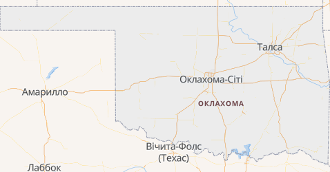 Оклахома - мапа