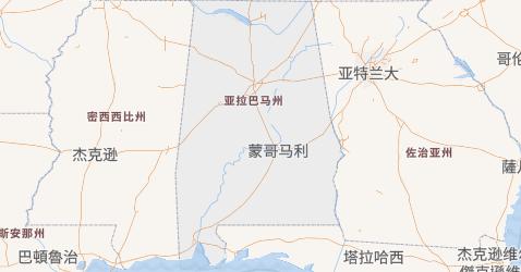亚拉巴马州地图