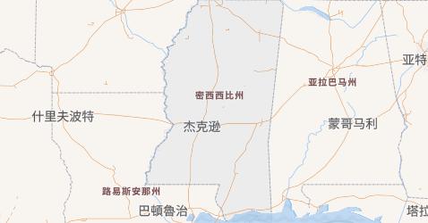 密西西比州地图